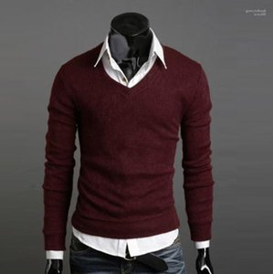England Style Bottoming Sweaters Mens V-neck Knitted Sweatshirts Spring Autumn Fall