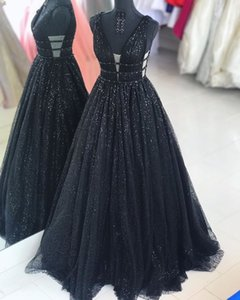 Bling Bing deep V-Neck Black sexy Evening Dresses 2020 A-Line Sequin Beaded Formal Evening Gowns Real Pictures Party Prom Dresses Long