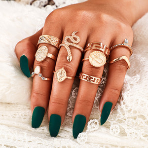10pcs / set Finger donne serpente anello dell'articolazione del turchese strass Ring Set Accessori di moda gioielli per Party regalo