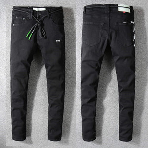 Pants Ankle Comprimento dos homens do estilo de Nova Itália, com Belt Longo afligido Washed Blue Jeans Skinny Jeans slim Calças # 137 #
