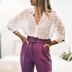 Aachoae Frauen-weiße Spitze Chiffon Langarm-Tupfen-Stickerei-Hemd Mode-Down-Kragen Büro Bluse Blusas Drehen