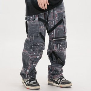 Hombres 2020 Hip Hop de mezclilla modelo pantalones Streetwear retro lavados Vaqueros Pantalones de Carga de Harajuku chándal pantalones de algodón