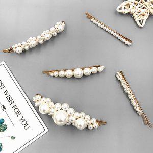 Mode Frauen Perlen Metall Haarnadeln Kreative Mädchen Pferdeschwanz halter Haarspange Haarschmuck Haar Styling Werkzeuge Kopfschmuck 100 stücke TTA579