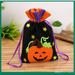 High Quality Non Woven Gift Candy Bag with Pumpkin Witch Pattern Halloween Christmas Festive Party Favor Pouch Gift Basket