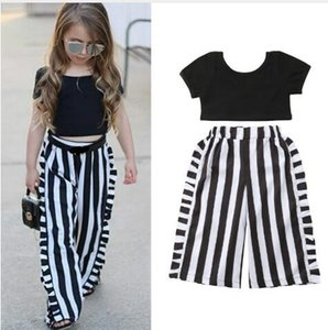 children's clothing Summer Girls Tops Trousers Suit New Baby Girl Black Top + Striped Wide Leg Pants 2 Piece Set