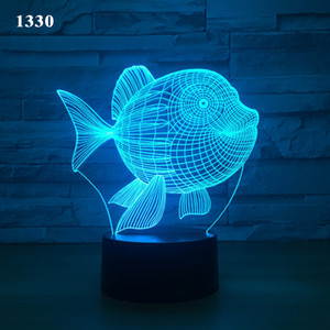 3D illusion lamp USB Night Lamp Projector Powered 5th Battery Bin Touch Button LED Night Light for Home