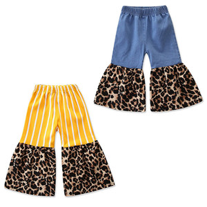 Niños Leopard raya pantalones 2019 Primavera Otoño Moda niños pantalones Flare bebés niñas INS Pantalones 2 colores C6445