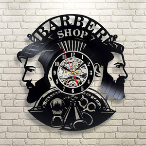 Barber Shop Wall Clock Modern Barbershop Decoration Vinyl Record Wall Clock Hanging Hairdresser Wall Watch for Barber Salon Y200110