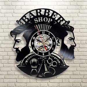 Peluquería de reloj de pared de la barbería decoración de la pared del vinilo del reloj Registro Colgando Peluquería pared reloj para el peluquero Salón Y200110
