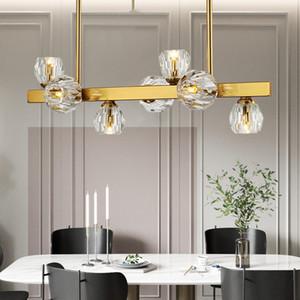 Post Modern Foyer Light Luxury Chandeliers 진짜 황동 골드 바디 7/9/11 헤드 크리스탈 드롭 라이트 LED G4 전구 조명기구