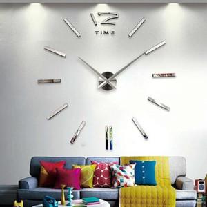 Orologio All'ingrosso-Nuovo quarzo Orologi Disegno moderno 3D fai da te reale Big Wall acrilico Specchio Sticker Living Room Decor circolare Ago
