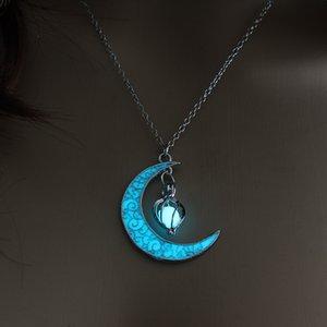 Aydınlık Taş kolye Gece ışık Boncuk Kolye Hediyeler kabak Ay Parlayan kolye Gem Charm Takı Kadınlar Cadılar Bayramı kolye Hollow