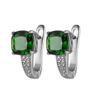 Luckyshine Европа популярный зеленый кварц площади серьги серебро женщин Свадьба Пром падение серьги Циркон для подарка праздника
