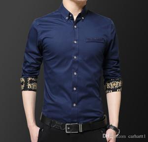 Mens Herren Langarm-Mode-Geschäfts-Kleid Shirts Stickerei-Blumen-Herbst-Revers-Ausschnitt Designer Casual Male Hemd