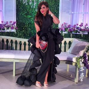 Sexy Front Split Schwarz Abendkleid Nahen Osten Stehkragen Rüschen Schößchen Bodenlangen Abendkleid Saudi-Arabien Vestdios de Novia