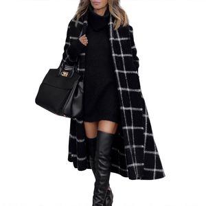 Autunno e inverno cappotto di lana womens lattice manica lunga a manica lunga risvolto sottile cappotto lungo cappotto femminile moda donna cappotto nero