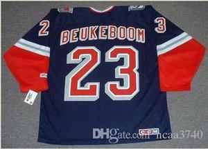 Custom Hombres Jóvenes mujeres Vintage #23 JEFF BEUKEBOOM New York Rangers 1998 CCM Hockey Jersey Tamaño S-5XL o personalizado cualquier nombre o número
