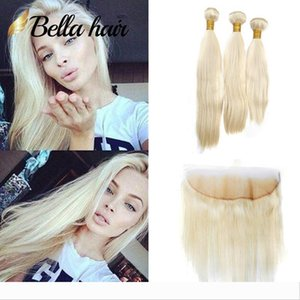Designer Bella Hair?10A Honey Blonde Indian Straight Human Hair Weave Bundles with 13*4 Frontal Closure with Baby Hair Blonde Extension #613