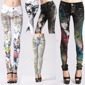 2020 New Stylish Fancy Gothic Jeans Woman ,Womens Scrawl Floral Print Painted Jean, Denim Skinny Slim Fit Jeans Pencil Pants