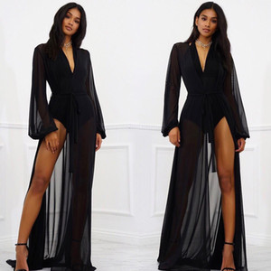 Женская шифон Sexy Сыпучие Кардиган See Through Sheer Белье Кимоно Robe Купальники Купальник Cover Up Long Макси платье