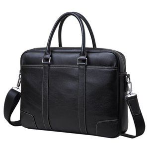 "Luxury Genuine Leather Men's Briefcases 14"" Laptop Handbag Cowhide Men Business Crossbody Bag Messenger Shoulder Bags for Men"