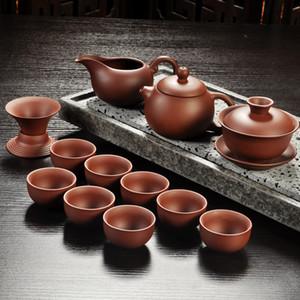 Purple Sand Tea Set Black Red Ceramic Kung Fu Teapot Handmade Purple Clay Teapot Tea Cup Gaiwan Tureen Tea Ceremony Promotion