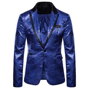 Mens Gold Shiny Sequin Gliter Suits Blazer Slim Nighly Weeding Party Blazer Stage Singers Homme Stage Singers Clothes