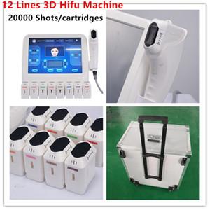 Mais recente 20000 Shots 8 HIFU Cartuchos HIFU pele de elevação Body Shaping Ultrasonic Faca 12 linhas 3D HIFU beleza máquina