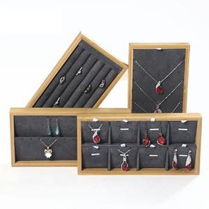 Üst düzey Bambu Takı Ekran Dikmeler Kolye Yüzük Küpe Kolye Bileklik Ekran Tepsi Counter Display Raf Mücevher Saklama Kutusu