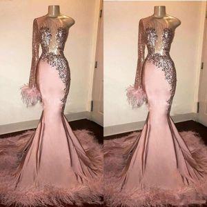 Las plumas del brillo de lentejuelas Vestidos fiesta sirena largo mangas de encaje de un hombro vestidos de noche formales africanos vestido de la muchacha Negro del desgaste