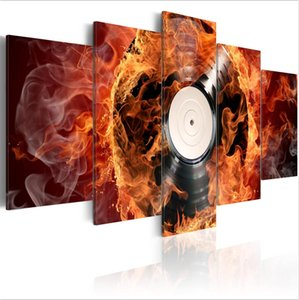 Artistic Burning discs Oil Painting ( No Frame ) 5pcs set Modern Abstract Canvas Giclee Wall Art Poster Home Decoration Gift