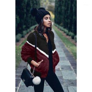 Chaqueta de invierno caliente Fleece solo pecho manga larga Abrigos Moda Contraste Color de la camisa para mujer Diseñador Fuzzy