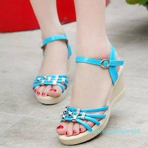 Zapatos LAKESHI romanos mujeres sandalias de verano sandalias de las señoras 2019 zapatos de las mujeres de Bohemia Moda Casual cuña T02