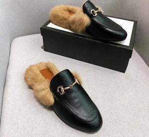 Женская Дизайнерская Тапочки Princetown Fur Fur Тапочки Мулы Квартиры Сеть Дамы Повседневная обувь Женщины Мокасины Muller тапочка обувь Пушистые Слайды