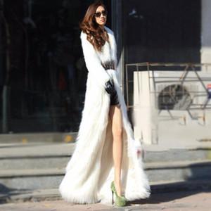 2018 Winter X-larga capa de las mujeres Artificial piel de imitación de felpa delgado falso Coats rompevientos Parka Tamaño más blanca chaqueta invierno