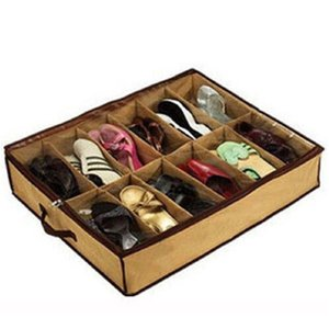 Durable Home Storage Shoe Organizers 2018 12 Cells Under Bed Bag Foldable Closet Drawer Box Transparent Shoe Storage Hot Sale