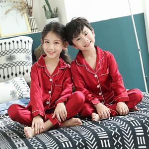 RN-9 весной детские пижамы костюм 2019 летние детские Soild шелковые пижамы набор мальчиков Homewear пятно девочки с длинным рукавом пижамы набор T200104