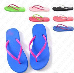 2020 Designer Women's Candy Color Sandals Summer Letter Print Beach Slippers Flip Flops Girls Soft Beach Slipper Shoes 2pcs pair New D7307
