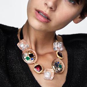 JURAN Metal transparente collares de hebra para las mujeres bohemio multicolor colgante de declaración collares moda regalos de navidad