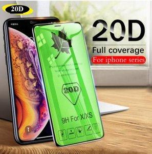 20D Borde curvo Cubierta completa Cristal protector en el iPhone 7 8 6 6S Plus Protector de pantalla templado para X XR XS Película de vidrio máx.
