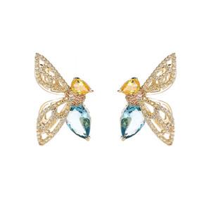 Coreano nuovi orecchini ape cava moda brillare zircone sexy argento ago orecchini delicati dolce temperamento semplice bellezza orecchini gioielli