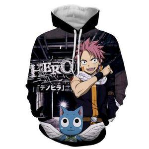 Fairy Tail Hoodie Natsu Hoodies Herren Pullover Anime Outwear 3 Print Sweatshirt Herren Bekleidung Casual Hoody Pullover5 Styles S-5XL