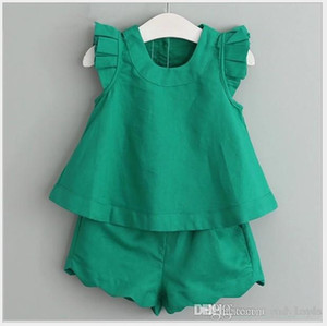 2018 Summer Girl Clothing Sets Green&Pink Tops+Shorts 2pcs Sets Children Outfits Kids Suit 5sets lot