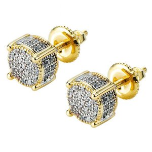 Iced Out Cubic Zirconia Twotone Micropave Cubist Screw Back 18k Gold Plated 3D Round Stud Earring for Men and Women Hypoallergenic Men Earri