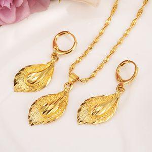 14 K Katı altın GF Kolye Küpe Seti Kadınlar Parti Hediye büyük Yaprak Setleri günlük giyim anne hediye DIY charms kızlar Güzel Takı