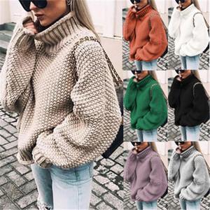 Новое Прибытие Женщины Свитер Мода Batwing Рукав Свободная водолазка вязаный свитер осень зима с длинным рукавом теплый твердый плюс размер пуловер 35