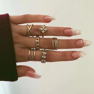 8 pcs / set Rings Set Vintage Rhinestone Midi Sets dedo anelar para as Mulheres Gypsy Dancer Boho festa de jóias
