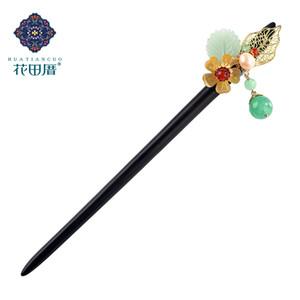 Etnik El yapımı Saç Siyah Ve Ebony Red Stone Boncuk İnci Beyaz Yeşil J ade Boncuk Kadın Takı FZ-18085 Sticks