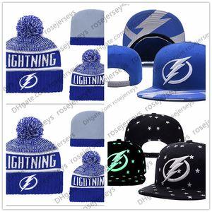 Tampa Bay Lightning Buz Hokeyi Örme kasketleri Nakış Ayarlanabilir Hat İşlemeli Snapback Siyah Mavi Beyaz Dikişli Caps Şapka