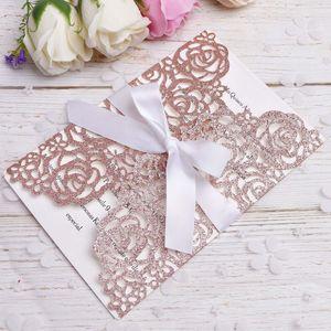 2020 Rose Gold Glitter Laser-Schnitt-Einladungskarten mit Goldfarbbänder für Hochzeit Bridal Shower Engagement Geburtstag Graduation Invites